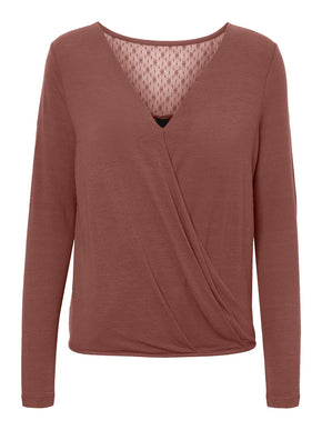 Long Sleeve Wrap T-Shirt With Lace