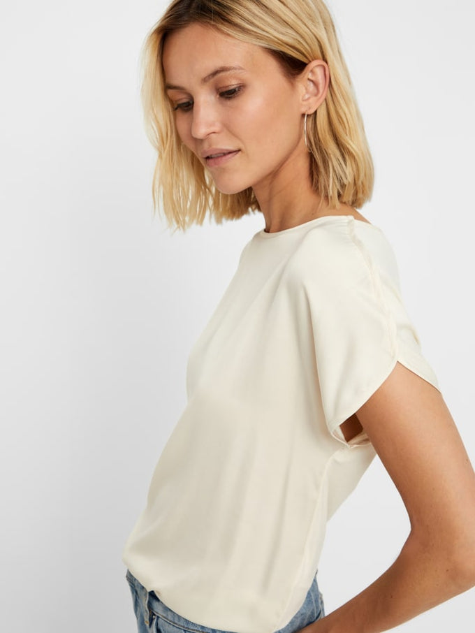 Short Sleeve Blouse With Jersey Back BIRCH