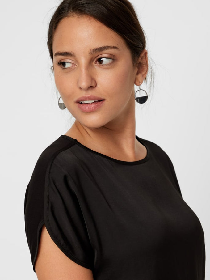 Short Sleeve Blouse With Jersey Back BLACK