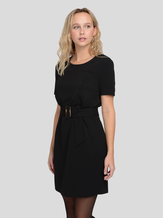 T-Shirt Dress With Belt BLACK