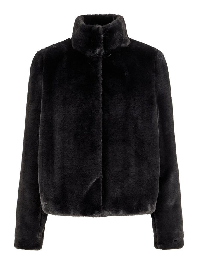 THEA SHORT FAUX FUR JACKET BLACK