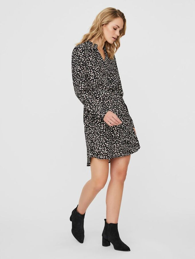 SHORT COLLARED DRESS BLACK/OLIVE PRINT