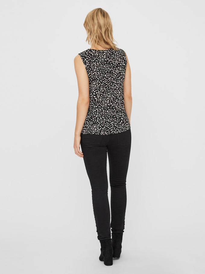 SINE SLEEVELESS TOP BLACK/PRINT