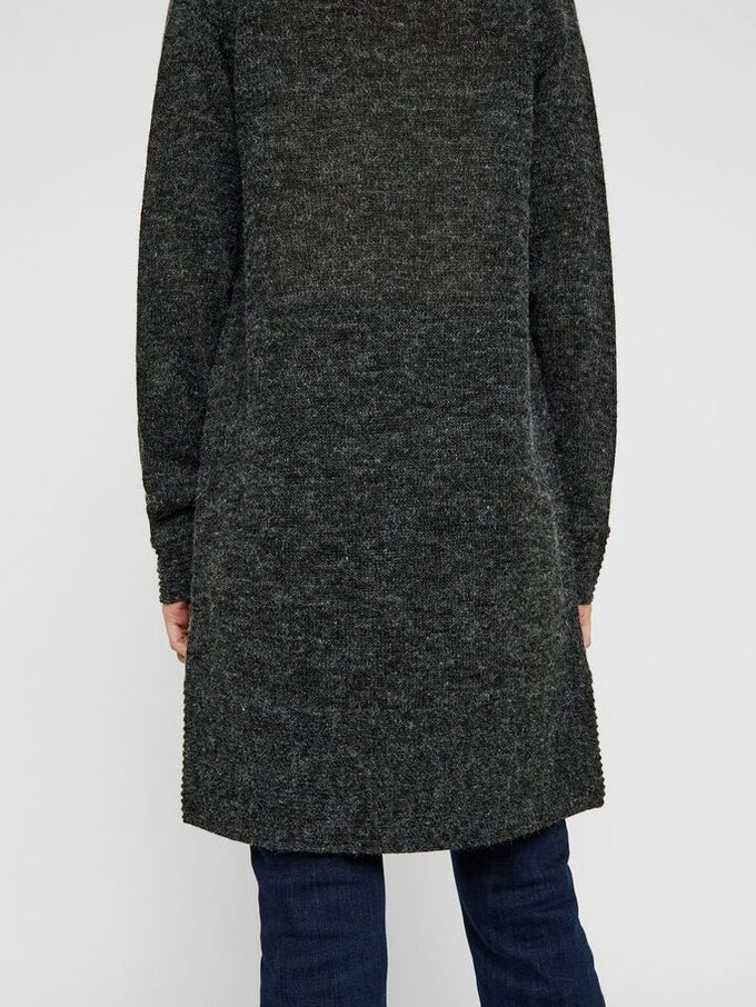 SUNDAY LONG KNIT CARDIGAN DARK GREY MELANGE