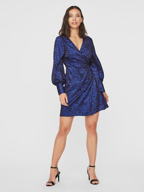 DAKOTA LONG SLEEVE SHORT WRAP DRESS