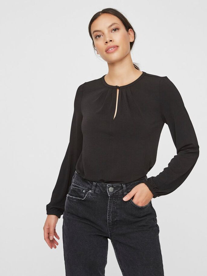 O-NECK TOP BLACK