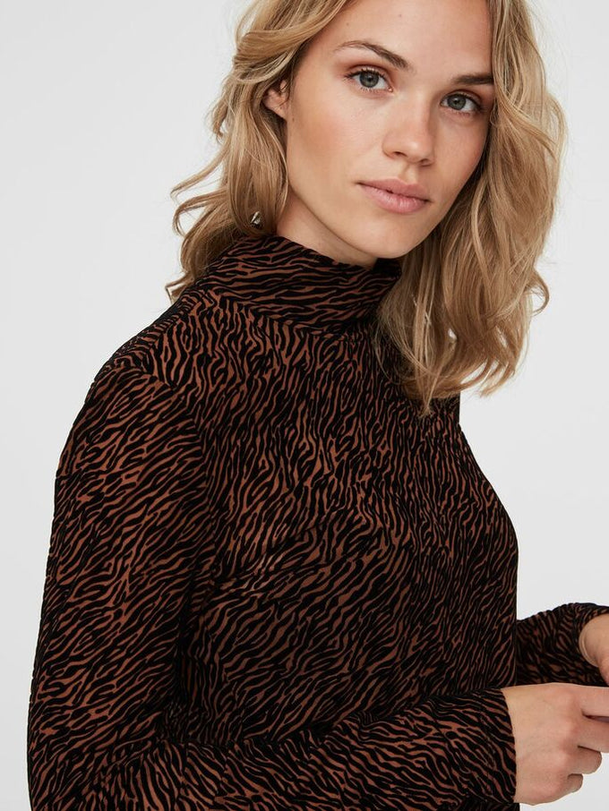 HIGH NECK TOP BROWN