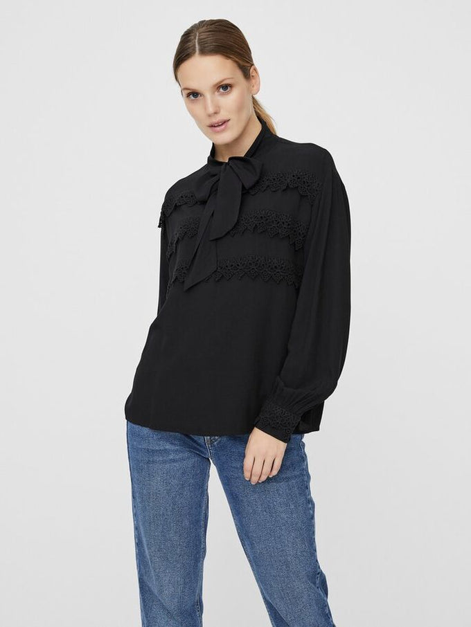 MIMMI BOW TIE TOP BLACK