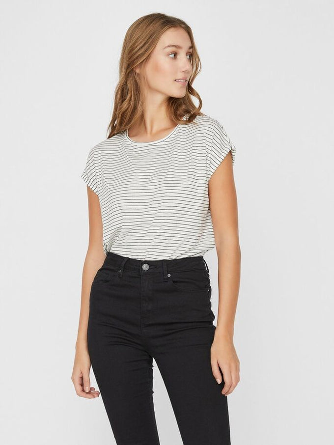 AWARE AVA STRIPED T-SHIRT SNOW WHITE