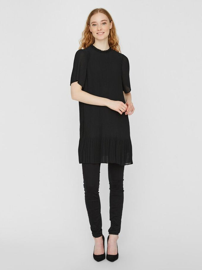 CICELY PLEATED DRESS BLACK