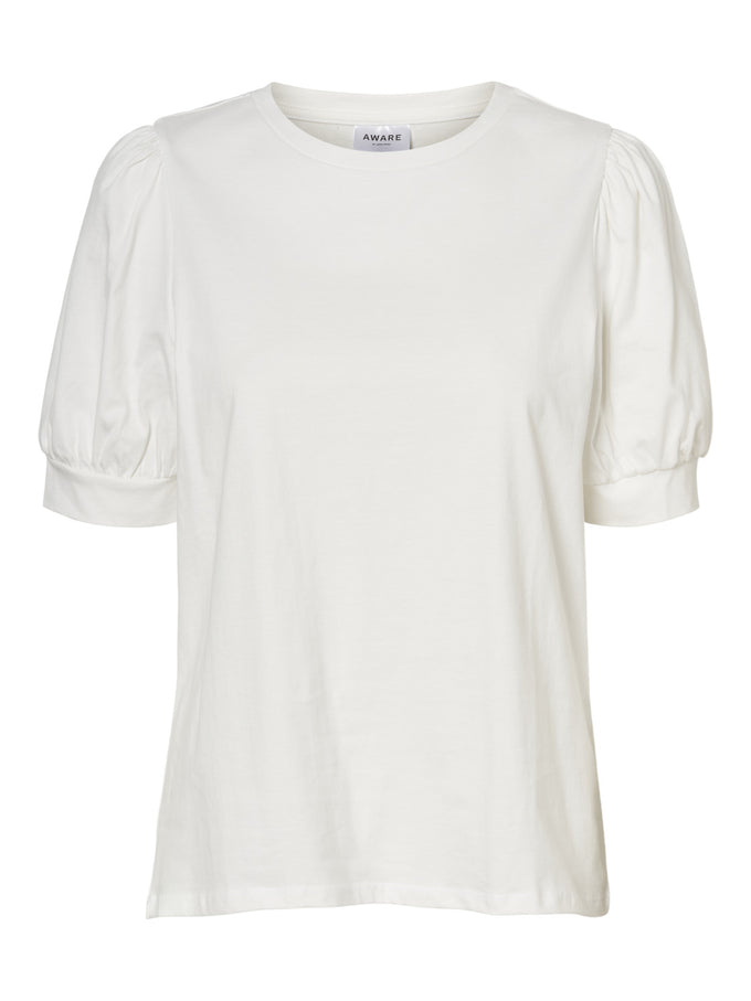 AWARE KERRY PUFF SLEEVES TOP SNOW WHITE
