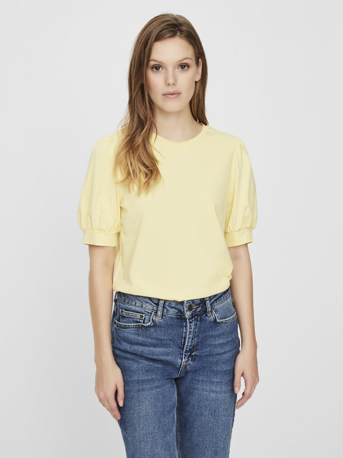 AWARE KERRY PUFF SLEEVES TOP PALE BANANA