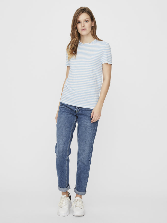 KIRI STRIPED t-shirt PLACID BLUE