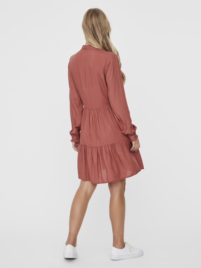 JILLEY LONG SLEEVES SHORT DRESS Marsala