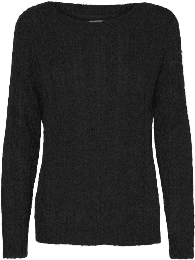 TWO-TONE O-NECK SWEATER BLACK BEAUTY