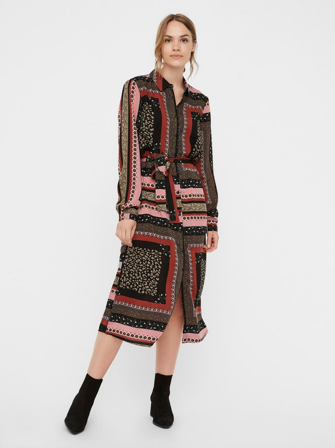 PRINTED MIDI SHIRT DRESS ROSE