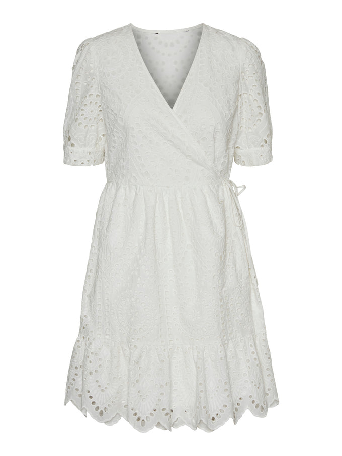 Therese embroidered wrap dress SNOW WHITE