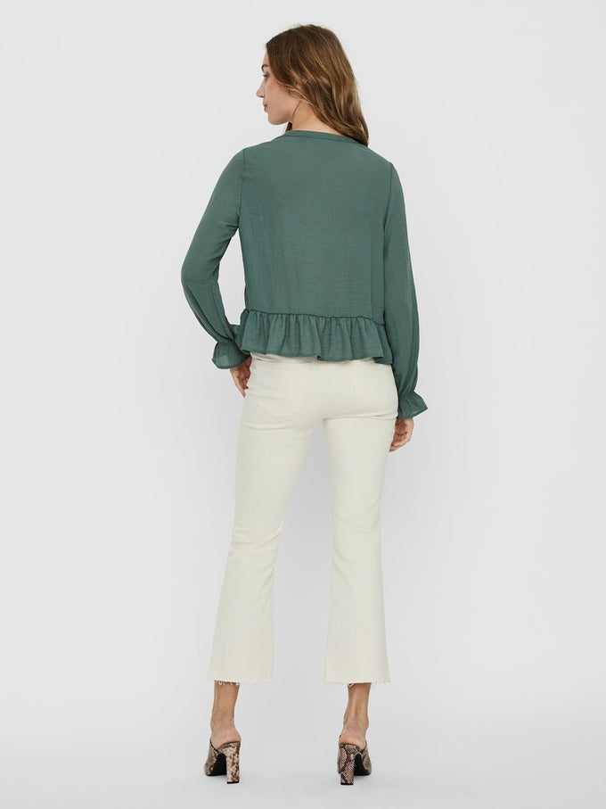 ISABELLA RUFFLE BLOUSE LAUREL WREATH