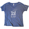 Slouchy V-neck T-shirt | Heather blue