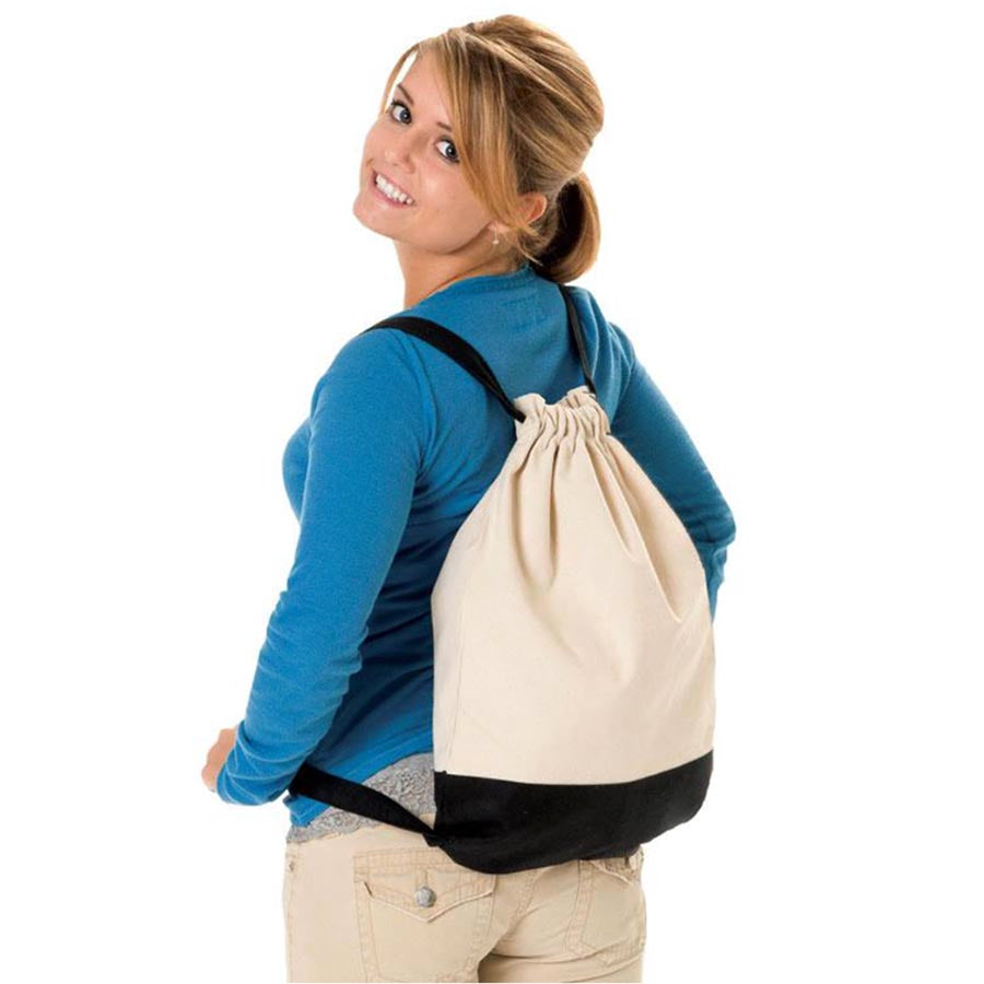 Canvas cinch backpack | animals