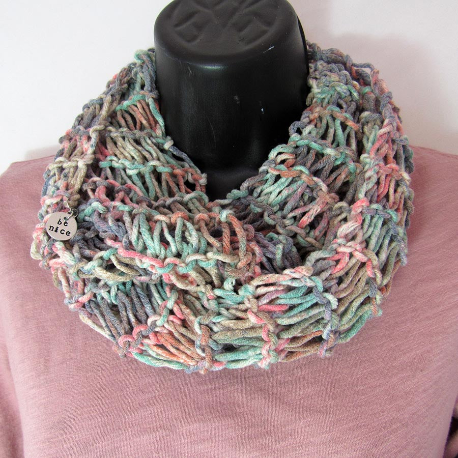 All-Season Infinity Scarf | Coral/Turquoise