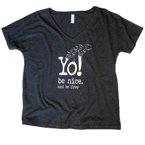 Slouchy V-neck T-shirt | Charcoal