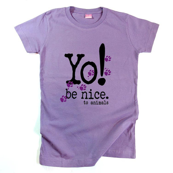 Girls t-shirt | be nice to animals | lavender