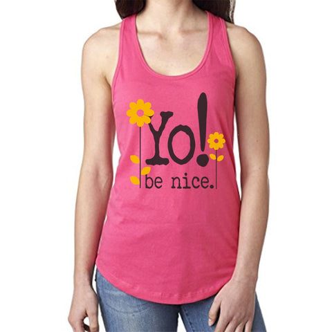 Racerback tank | hot pink | flower