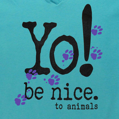 Girls t-shirt | be nice to animals | aqua