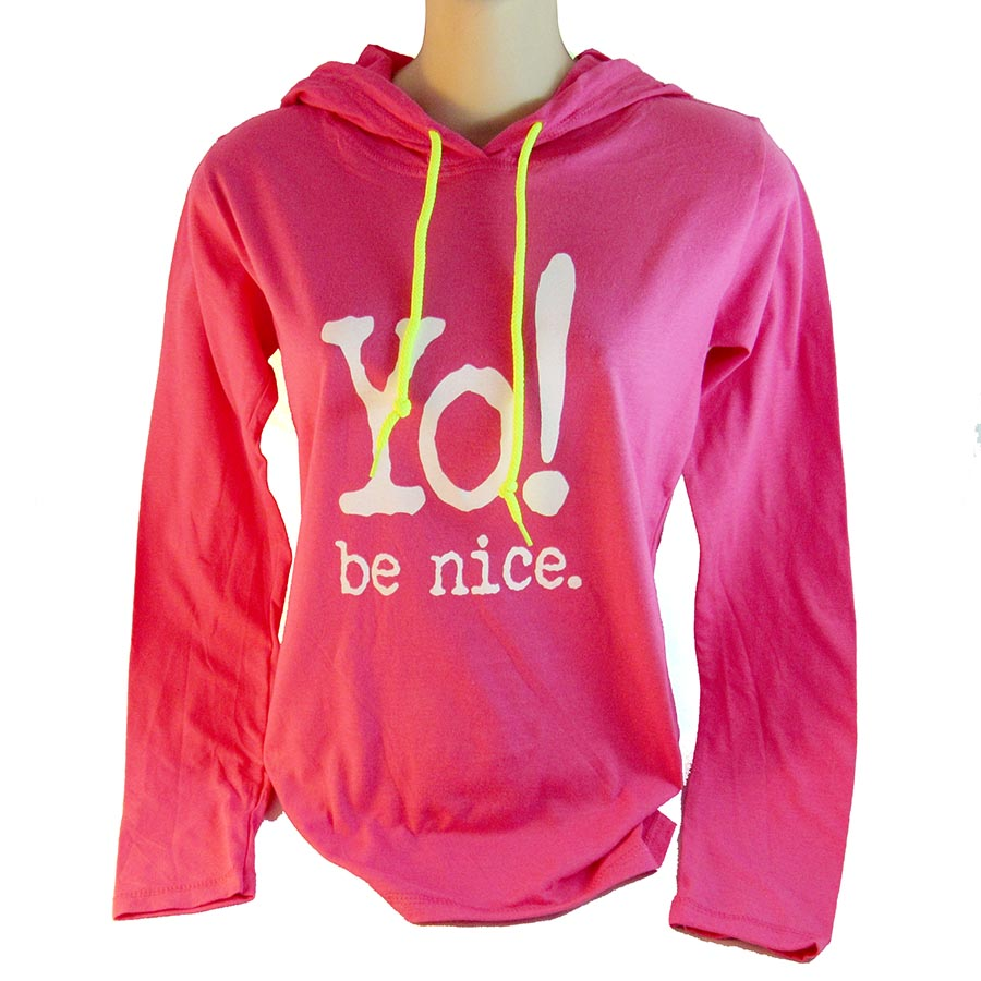 Long sleeve hooded T | hot pink
