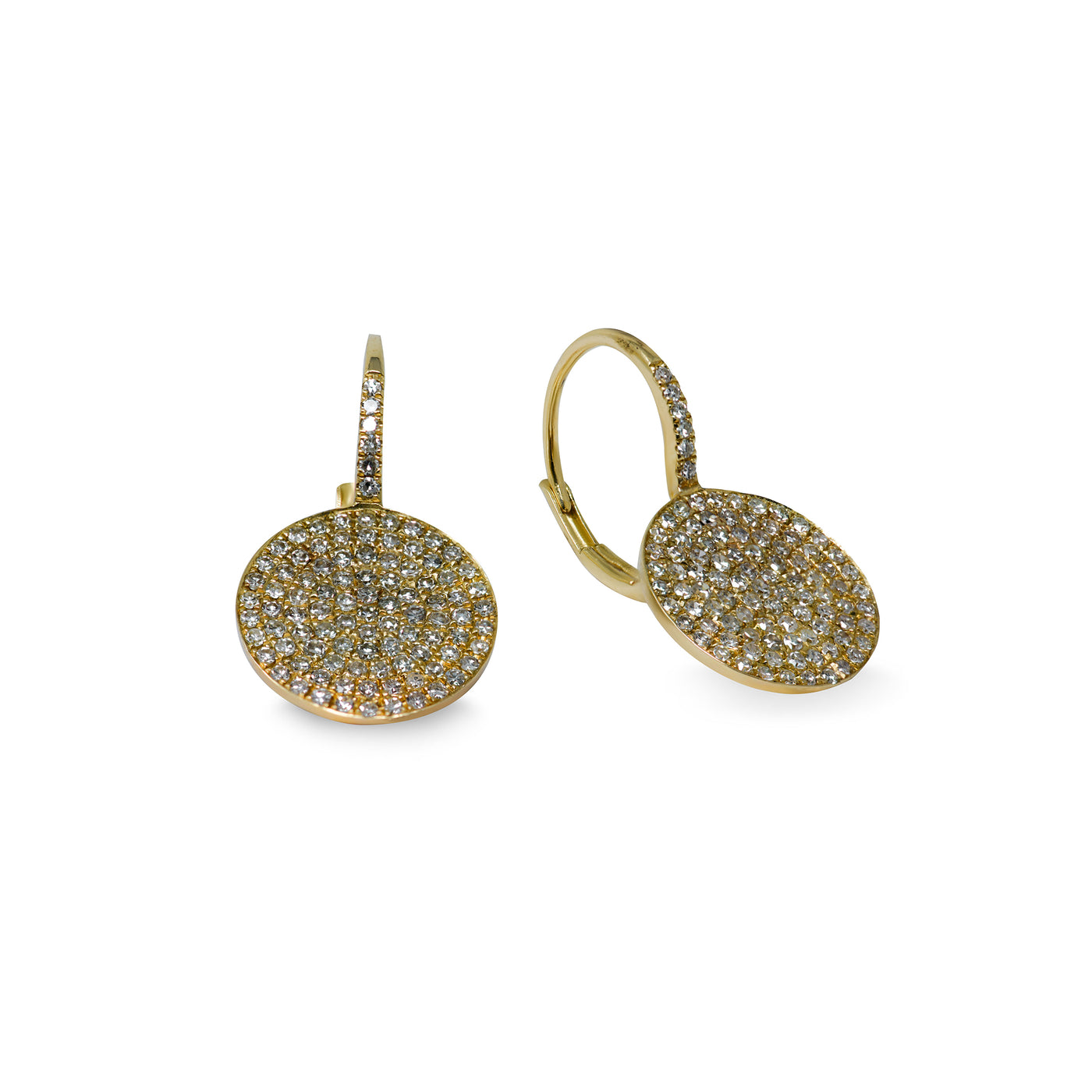 Pave Disc Diamond Earrings
