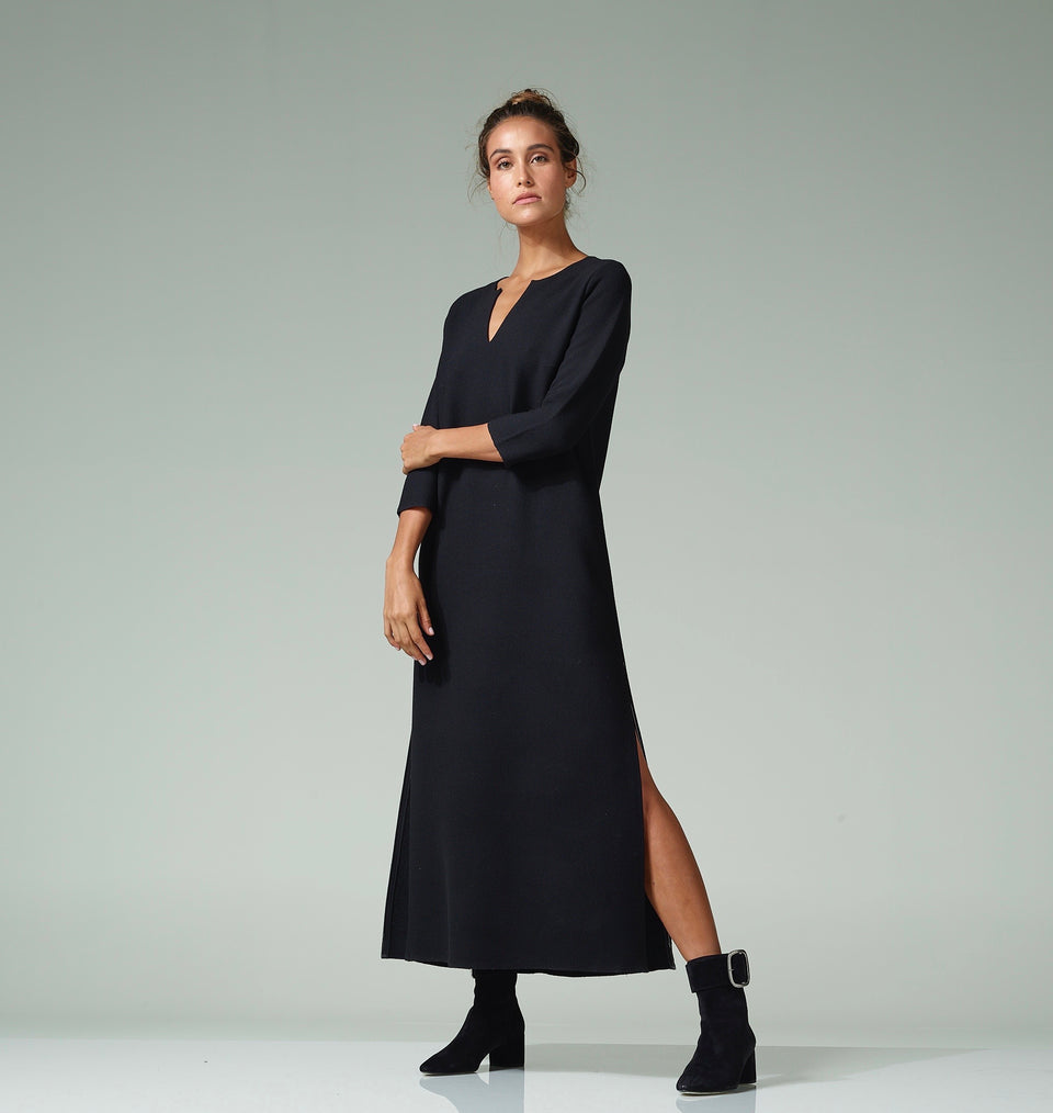 Black Double Wool Crepe Maxi Tunic