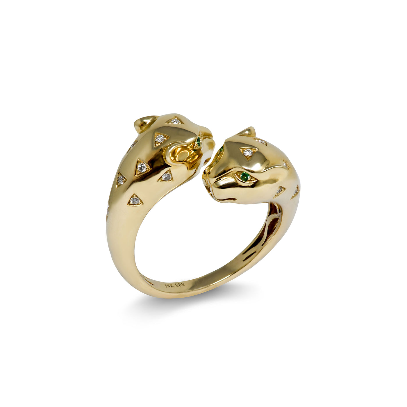 Adjustable Panther Head Ring 14k