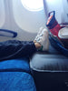Flytot inflatable travel footrest and bed.