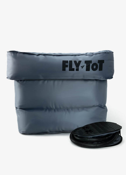 Fly-Tot, a long haul flight essential for kids family traveling.  Perfect for family trips, international flights, road trips, and more.  One foot pump included.  Alternative to PlanePal, Plane Pal