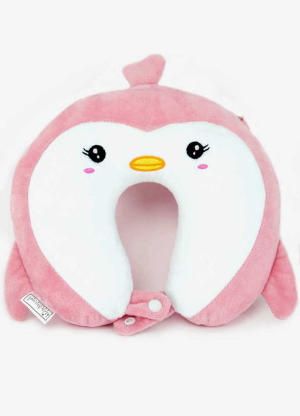 Toddler size travel pillow from Kids Travel Boutique- Pink Penguin U shaped pillow.