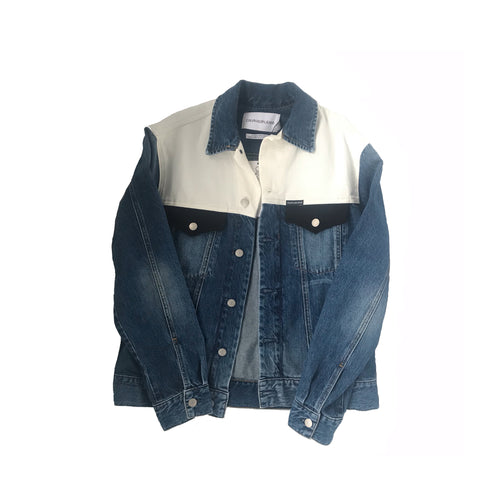 Colorblock Trucker Denim Jacket