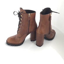 Brown Leather Lace-Up Ankle Boots