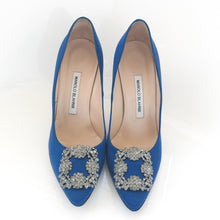 Manolo Blahnik Hangisi Jewel Satin Blue Pump