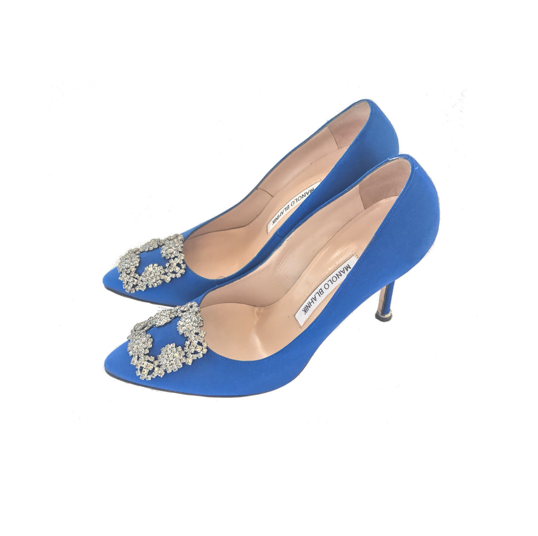 Manolo Blahnik Hangisi Jewel Pump Blue Satin