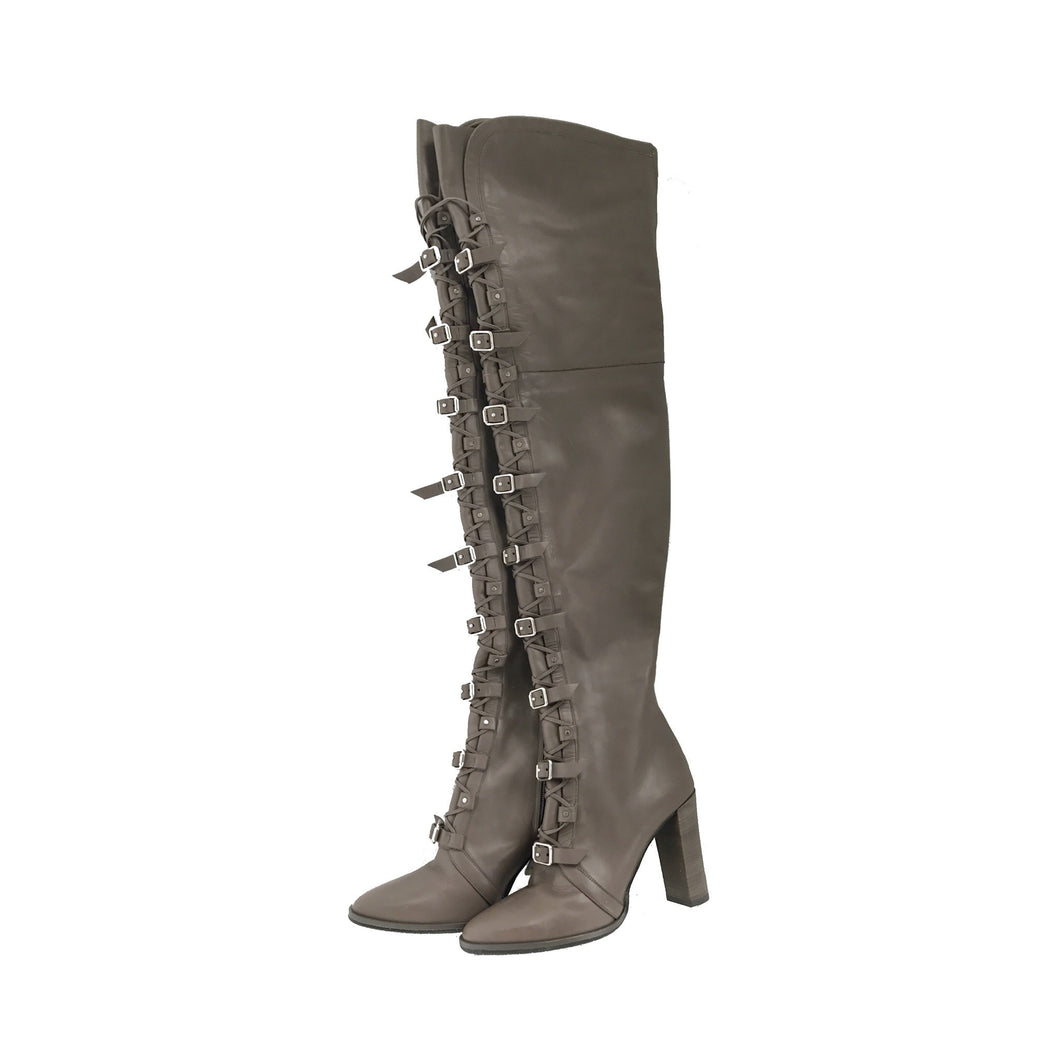 Jimmy Choo Malory Over-the-Knee Boots in Taupe