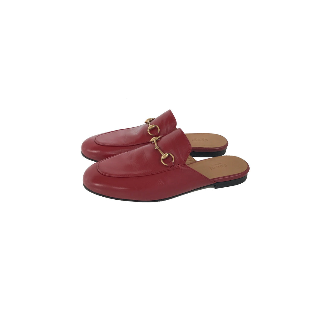Gucci Princeton Leather Slipper Hibiscus Red