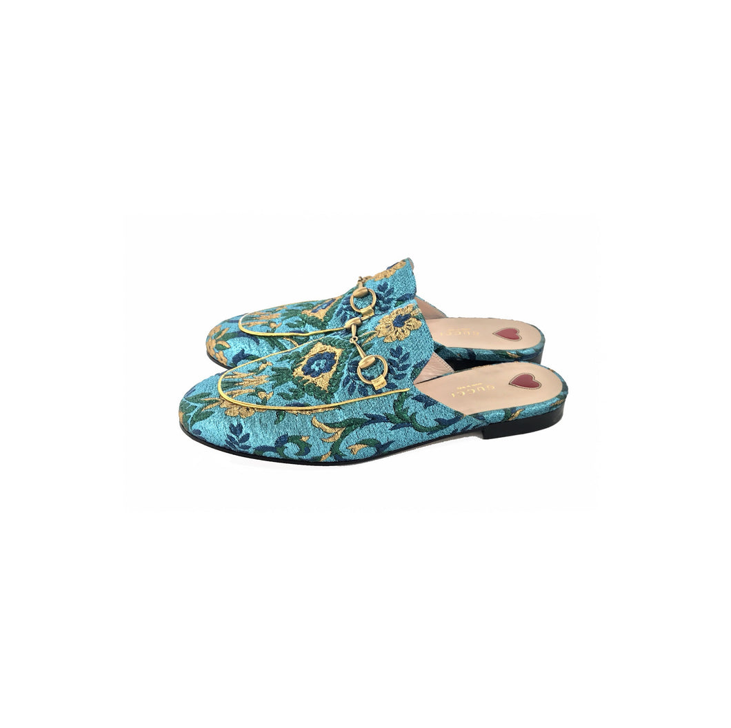 Gucci Princeton Brocade Slipper Blue Gold Metallic
