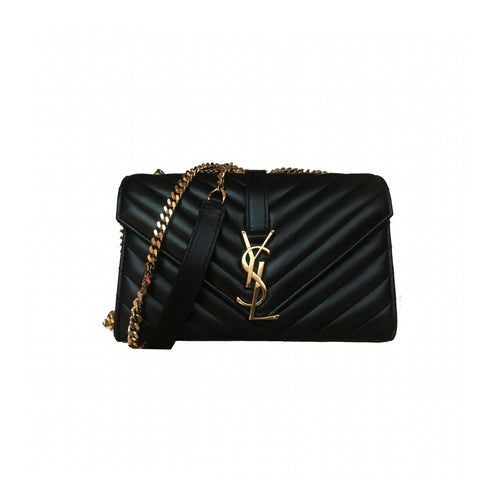 Yves Saint Laurent Monogram Classic Small Shoulder Bag Black Matelassé