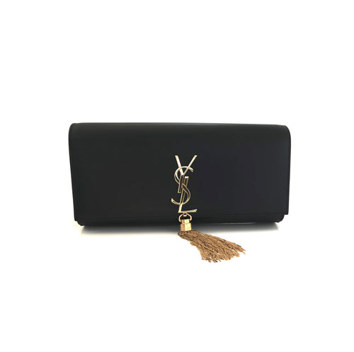Yves Saint Laurent Classic Kate Monogram Tassel Clutch Black
