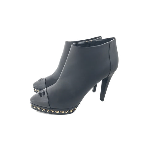 Chanel Lambskin Chain Platform Ankle Boots Black