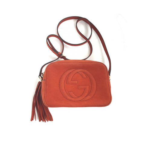 Gucci Soho Disco Nubuck Crossbody Bag Dark Orange Tan