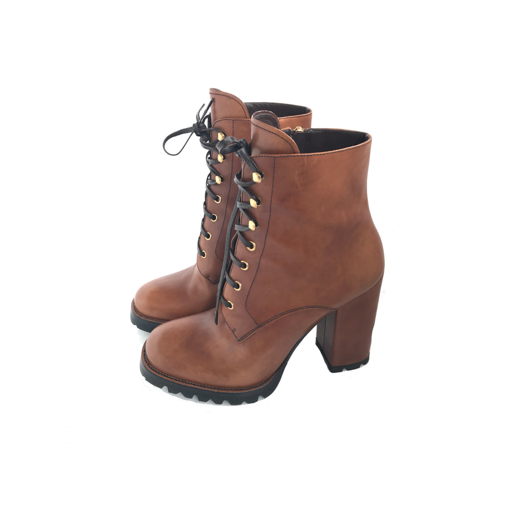 Prada Leather Lace-Up Ankle Boots Brown