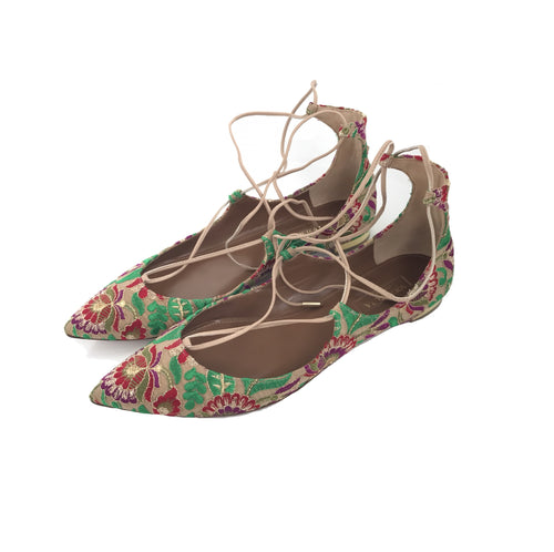 Aquazzura Christy Embroidered Canvas Point-toe Flats Beige Floral