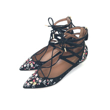 Aquazzura Belgravia Embroidered Suede Lace-Up Flat Black Floral